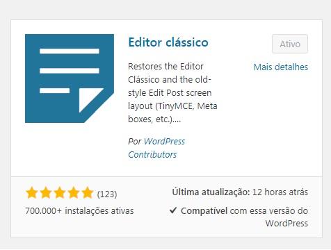 como voltar para o editor clássico do wordpress
