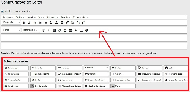 configurações do editor wordpress antigo