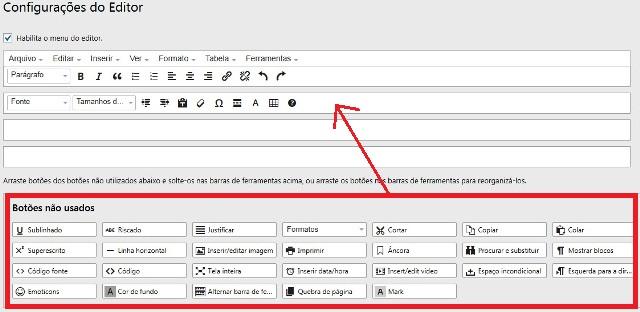 configurações do editor wordpress antigo