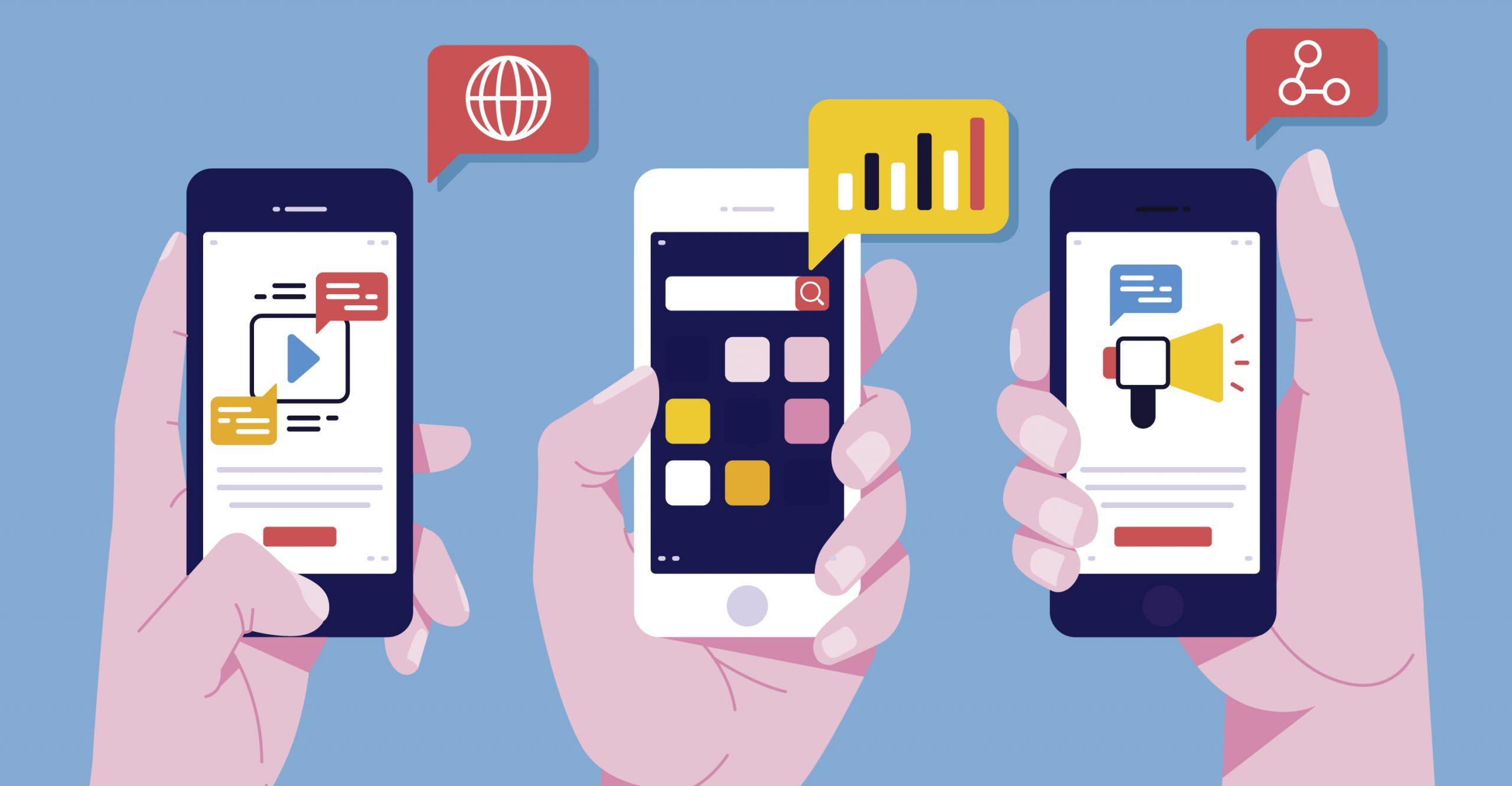 mídias sociais via smartphones